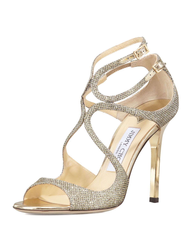 lyst jimmy choo lang glittered strappy sandal in metallic rh lyst com