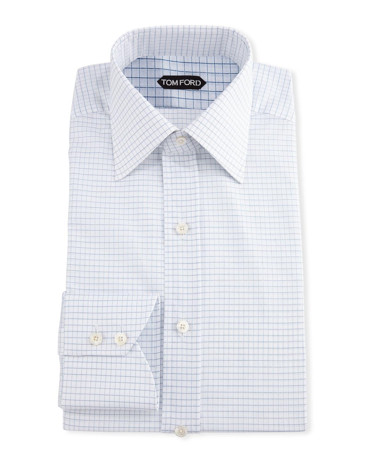 Lyst Tom Ford Mens Small Check Dress Shirt In Blue For Men