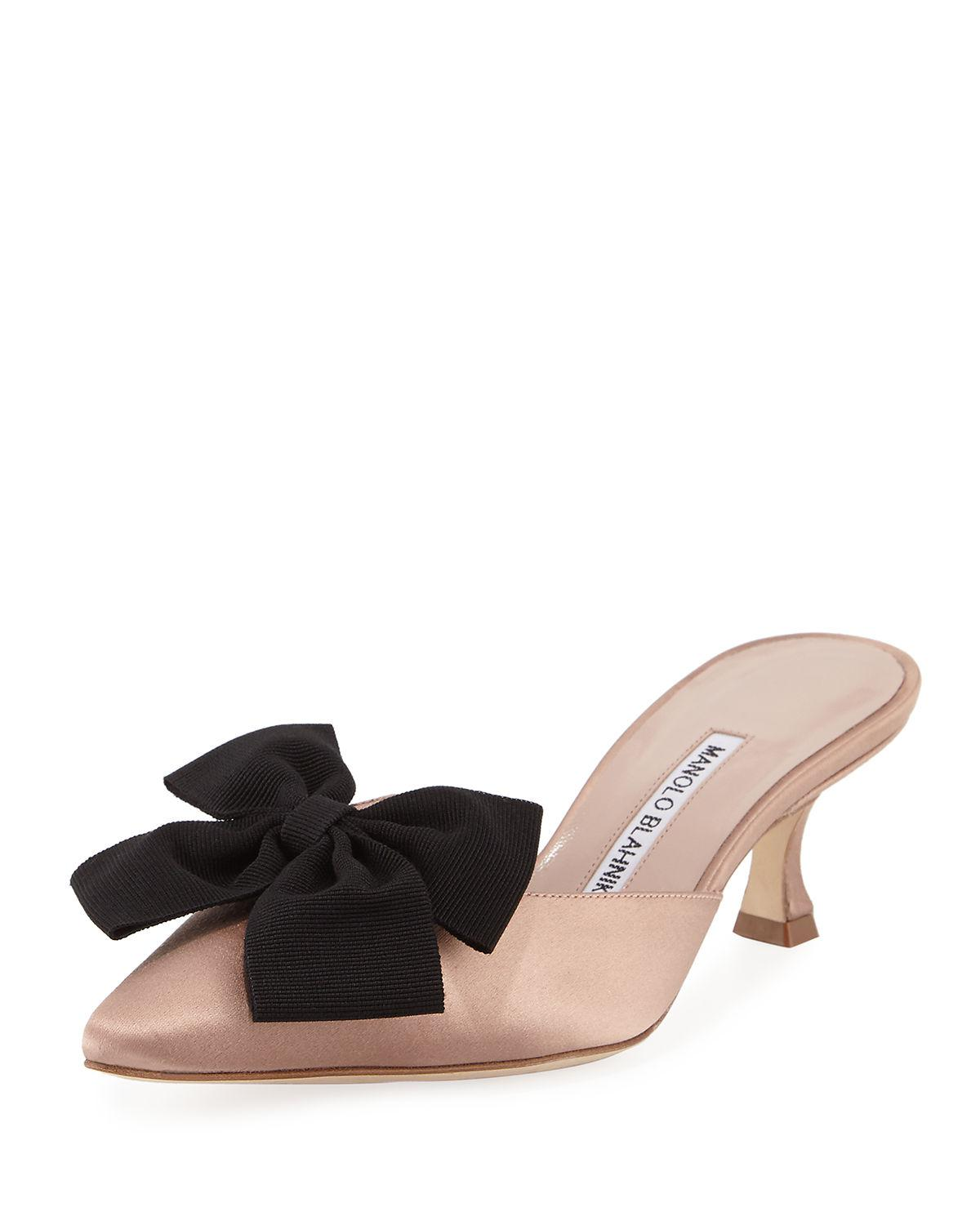 sast online cost cheap price Manolo Blahnik Metallic Bow-Adorned Sandals Manchester cheap price official cheap online gM2jJiMF4