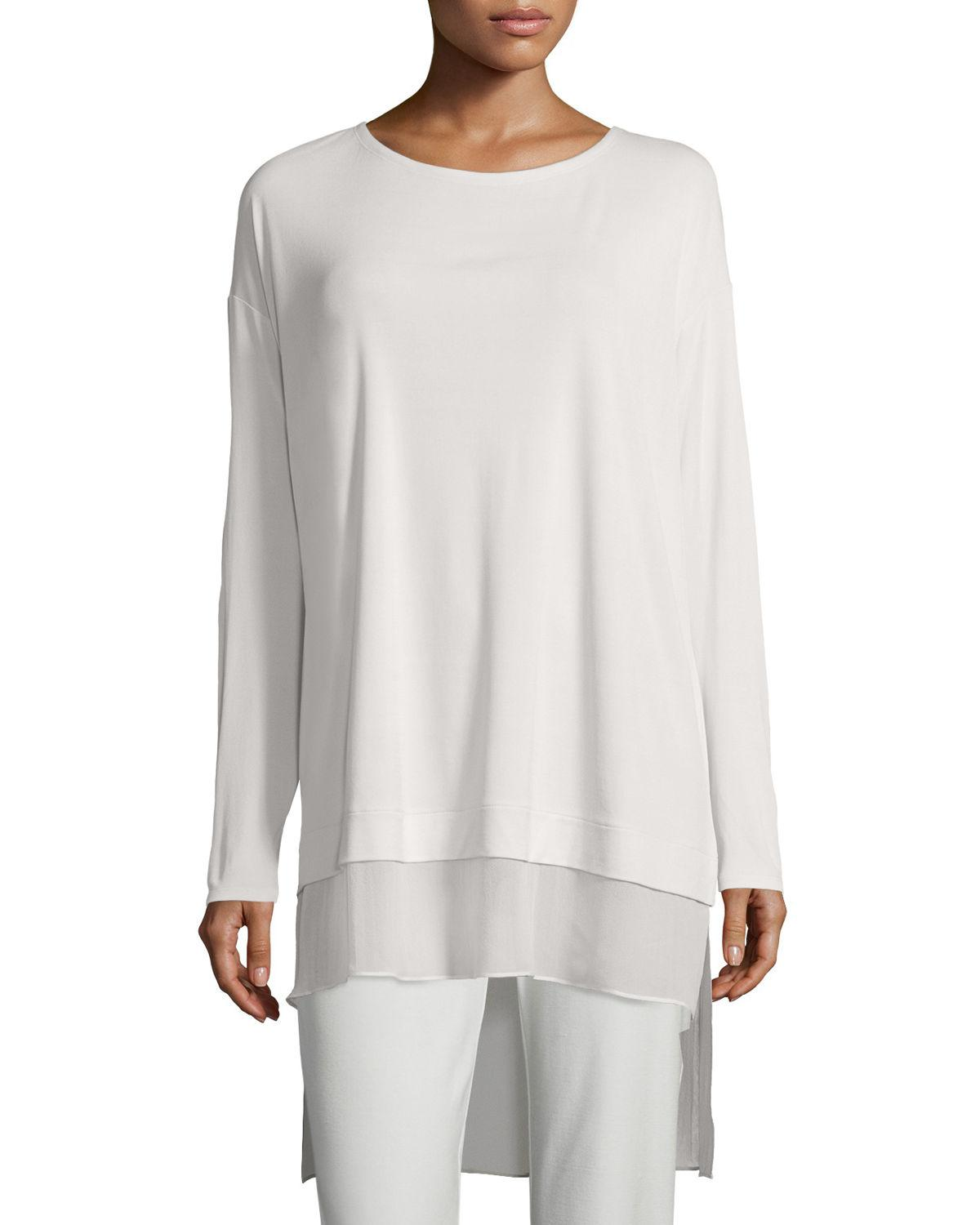 f6ed6a7a82 Lyst - Eileen Fisher Long-sleeve Layered Silk Tunic in White - Save 50%