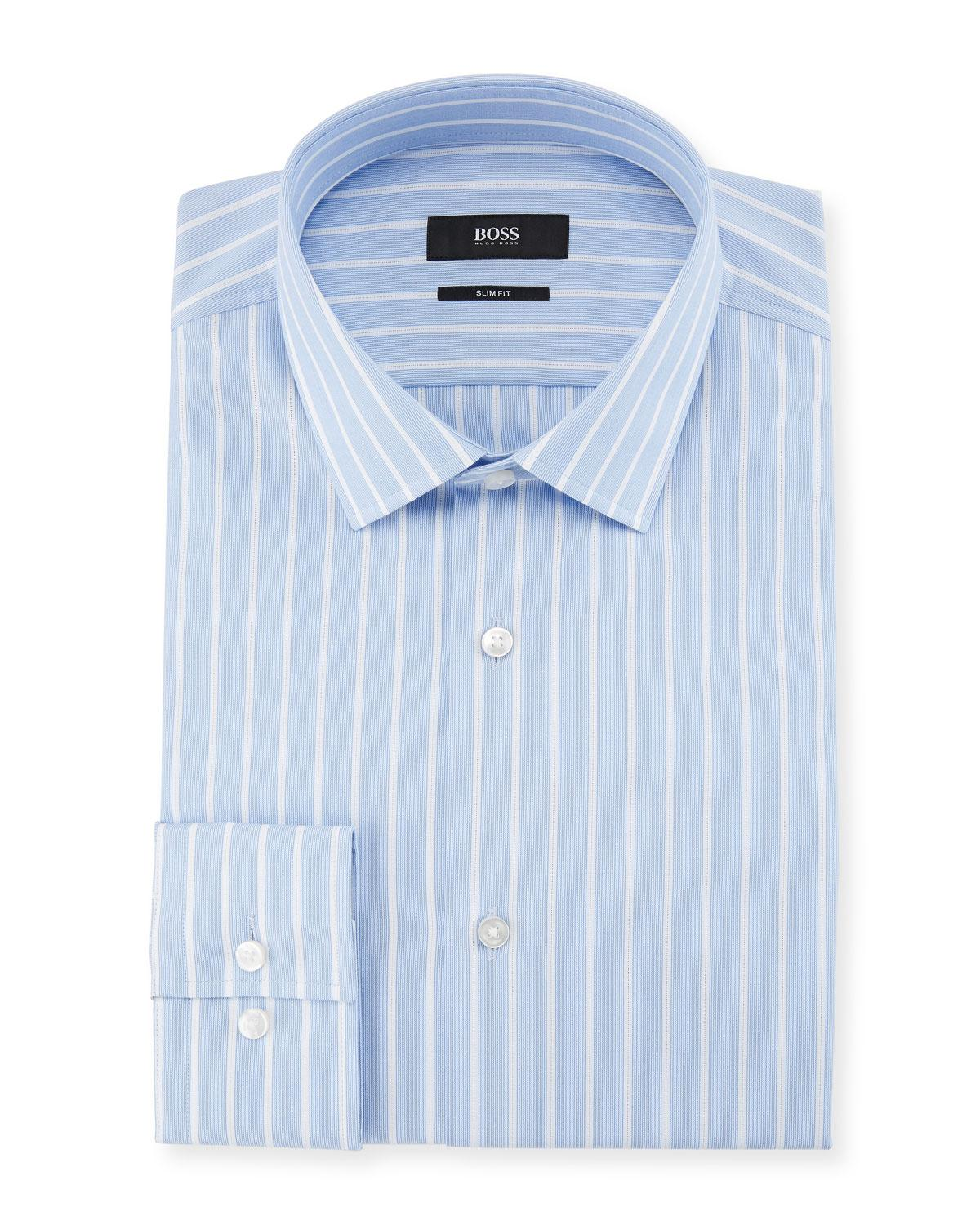 Featured. BOSS | Blue Slim Fit Textured Stripe Dress Shirt ...