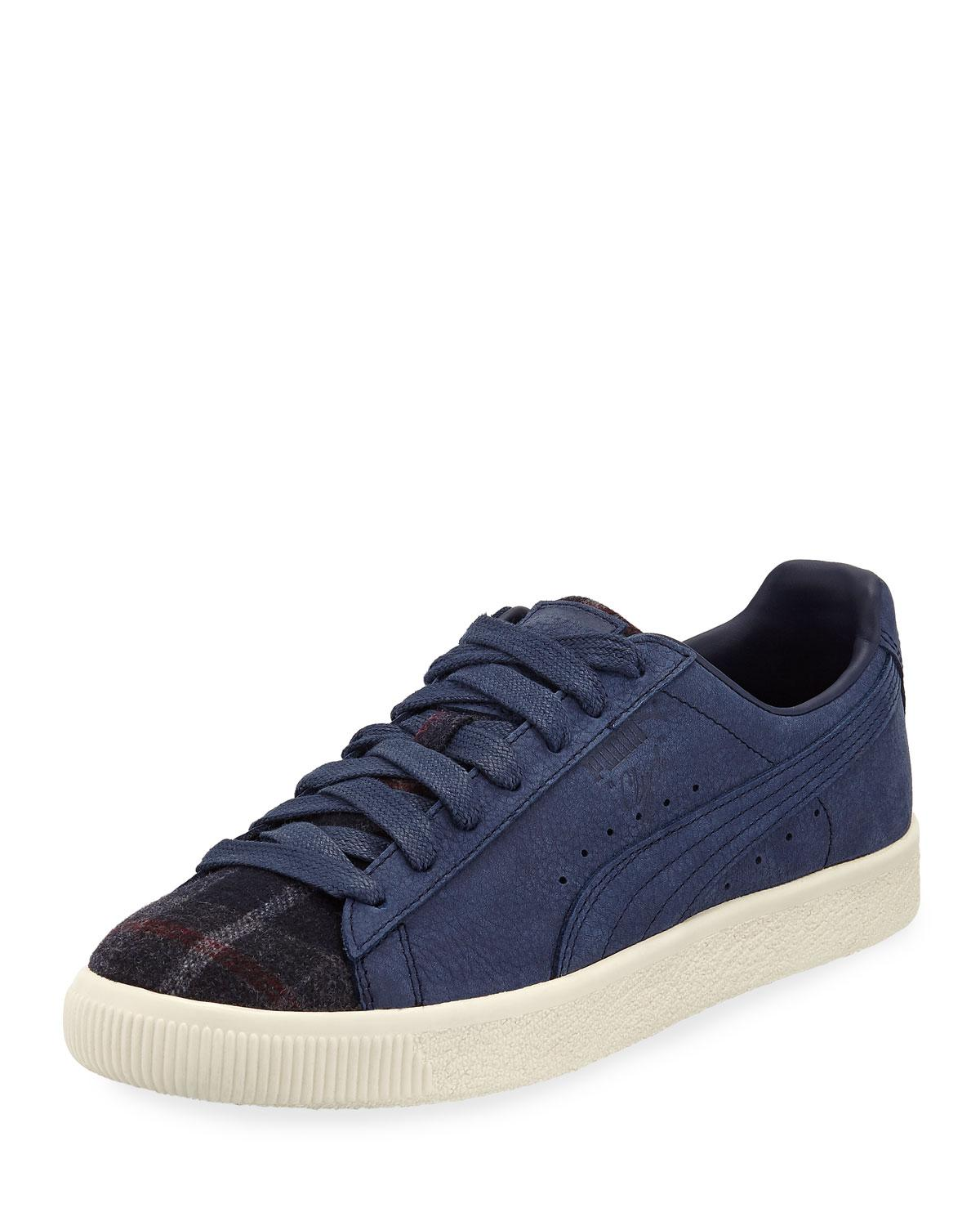a0f5fca4539d Lyst - PUMA Men s Clyde Plaid suede Low-top Sneakers in Blue for Men