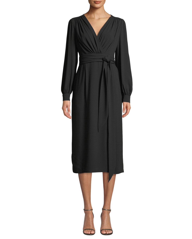 65377ee8cbb7a Lyst - ESCADA Wrap-front Long-sleeve Crepe Midi Dress in Black