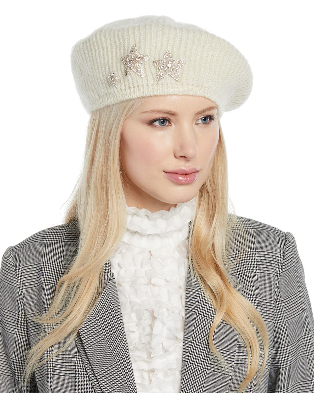 664c6cbf3a8 Lyst - Jennifer Behr Estrella Mohair-blend Knit Beret W  Embellished ...
