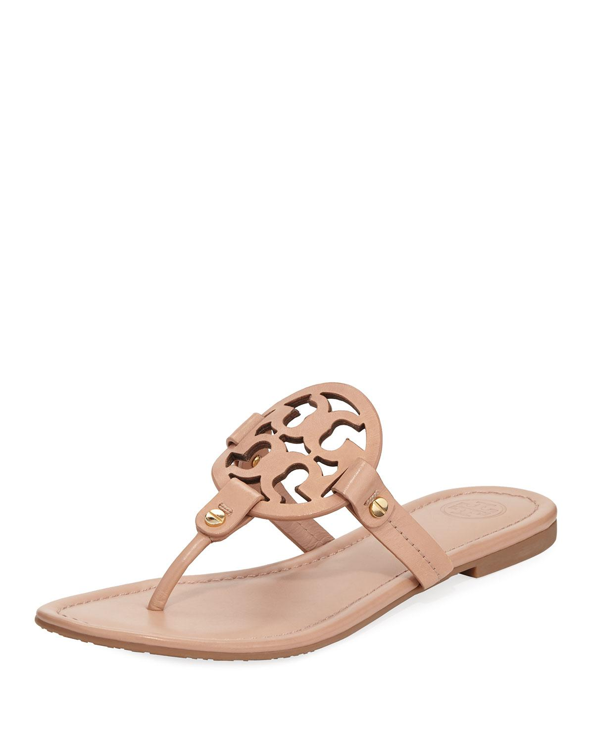 7f06900614e0d7 Tory Burch. Women s Miller Flat Leather Logo Slide Sandal