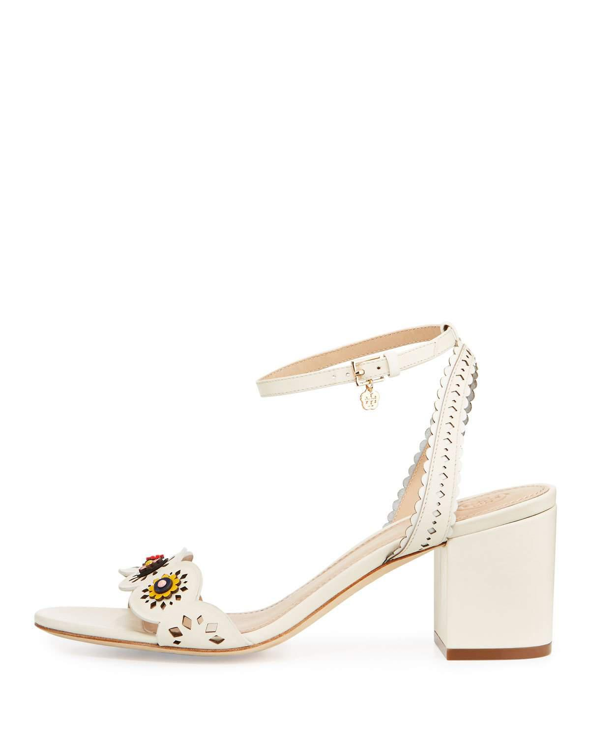 a10a9d28d6d Lyst - Tory Burch Marguerite Perforated Sandal in White