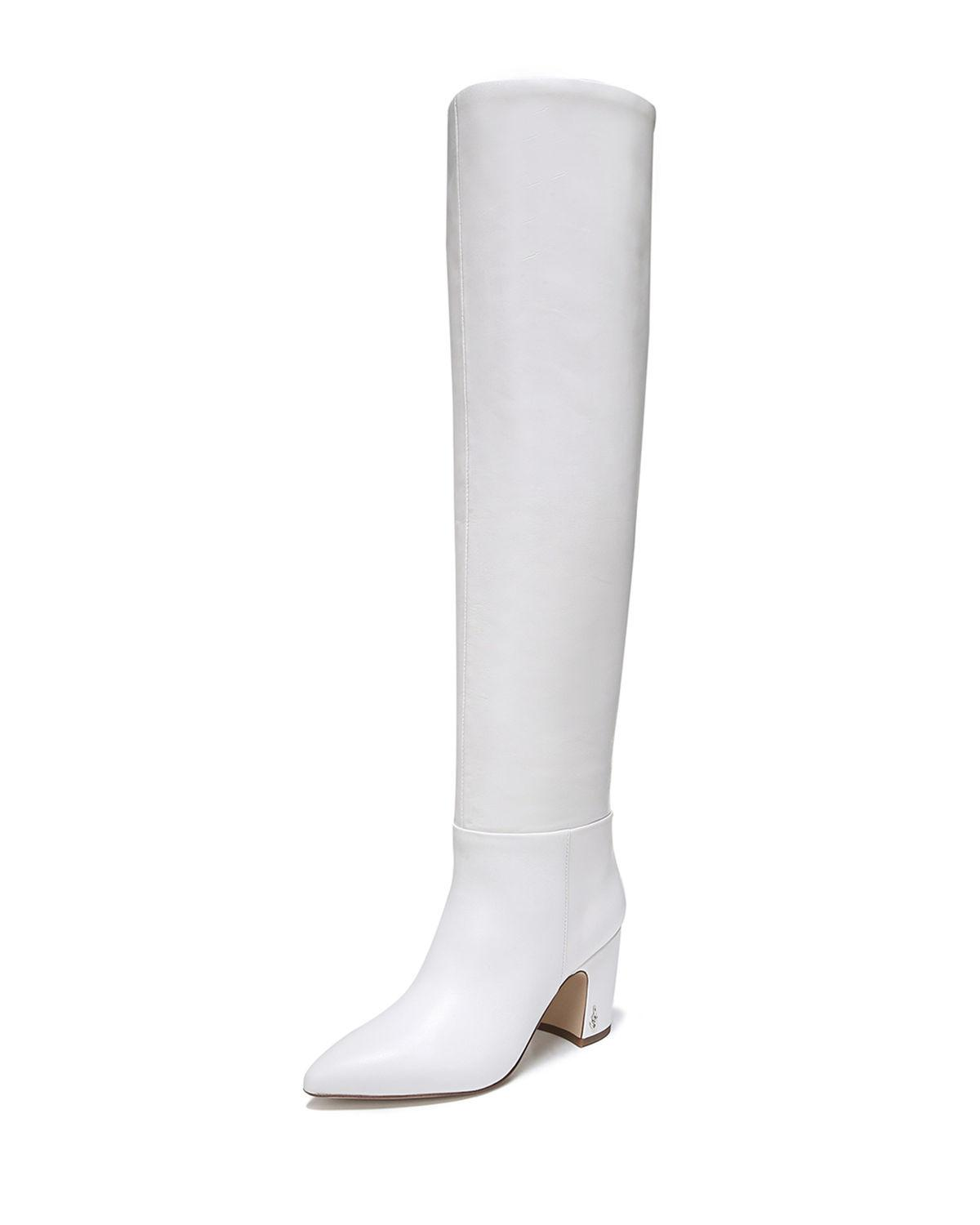 b6d885cda4ad8a Lyst - Sam Edelman Hutton Leather Over-the-knee Boots in White