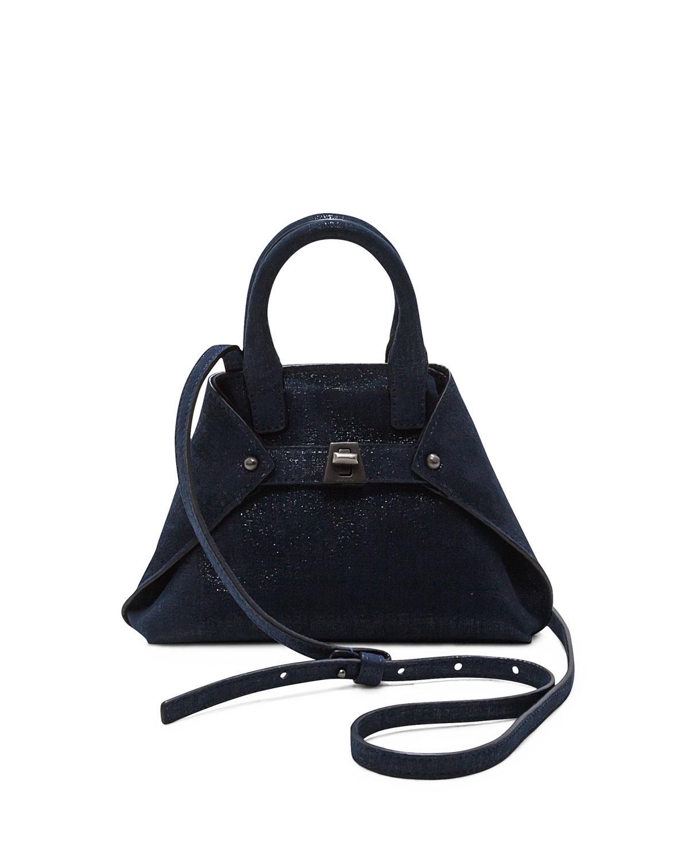 Lyst - Akris Ai Micro Denim Lamé Messenger Bag in Blue 24e0920561