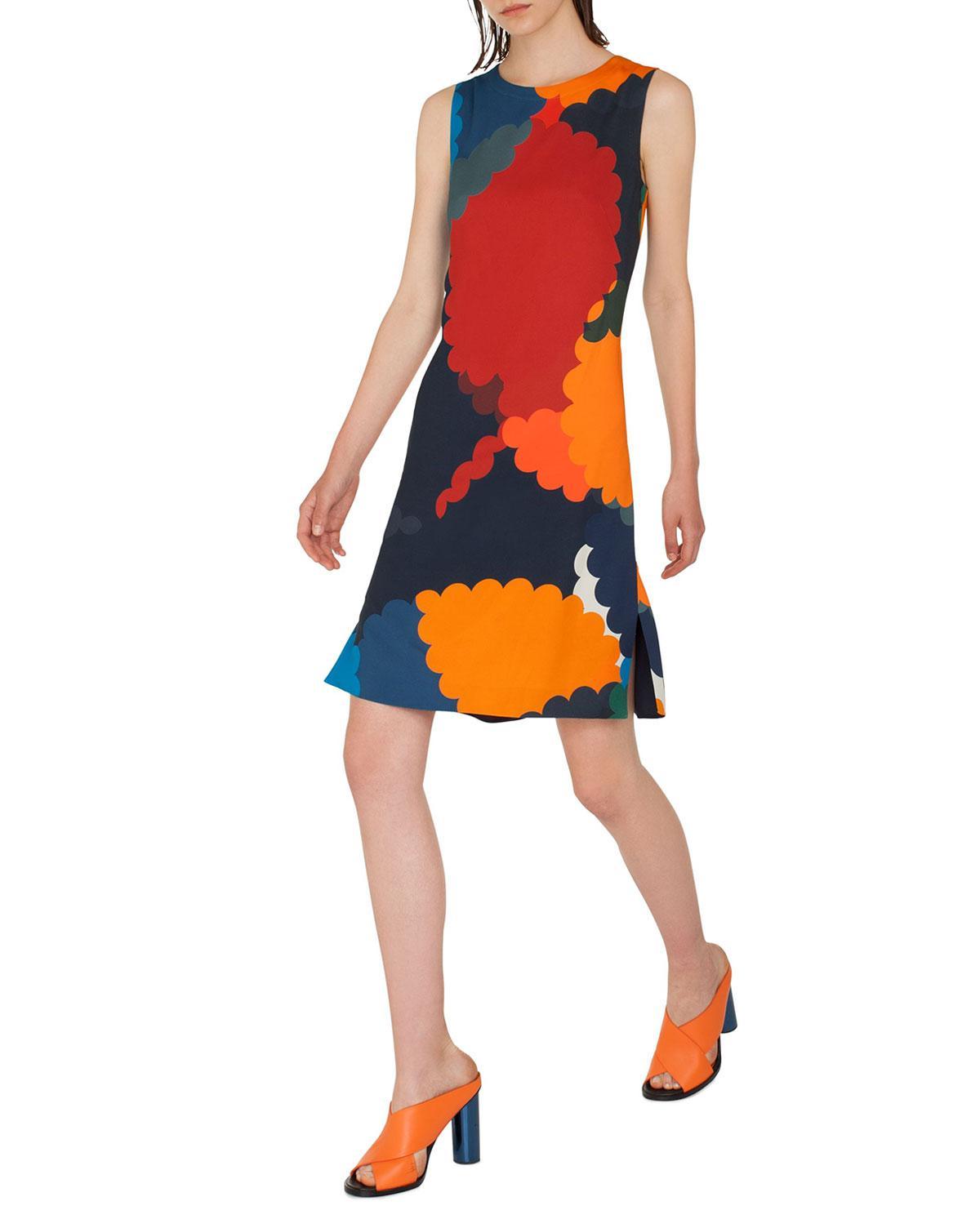 656b94791a Lyst - Akris Punto Nuvola Print Shift Dress in Orange