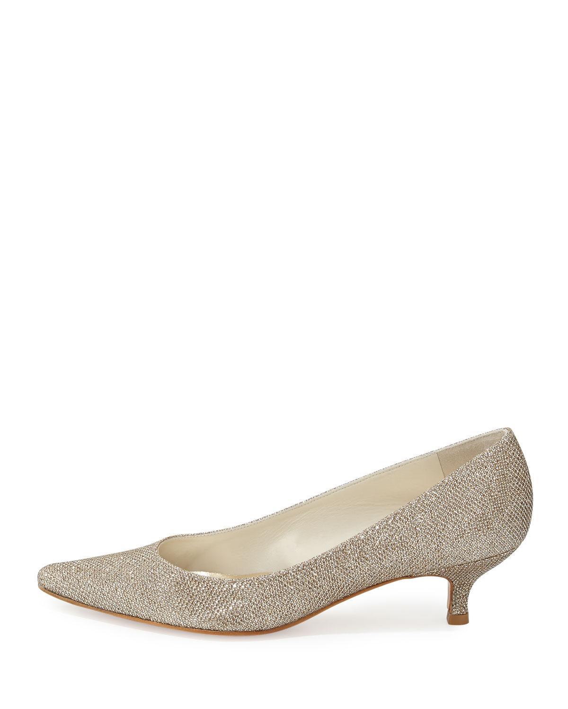 59702f4e66a Lyst - Stuart Weitzman Poco Glitter Kitten Heel Pump in Metallic