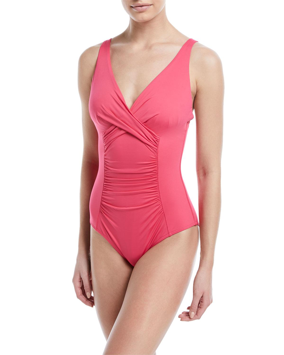 e6b19073b6a Jets by Jessika Allen. Women's Pink Flora Underwire Ruched One-piece  Swimsuit ...