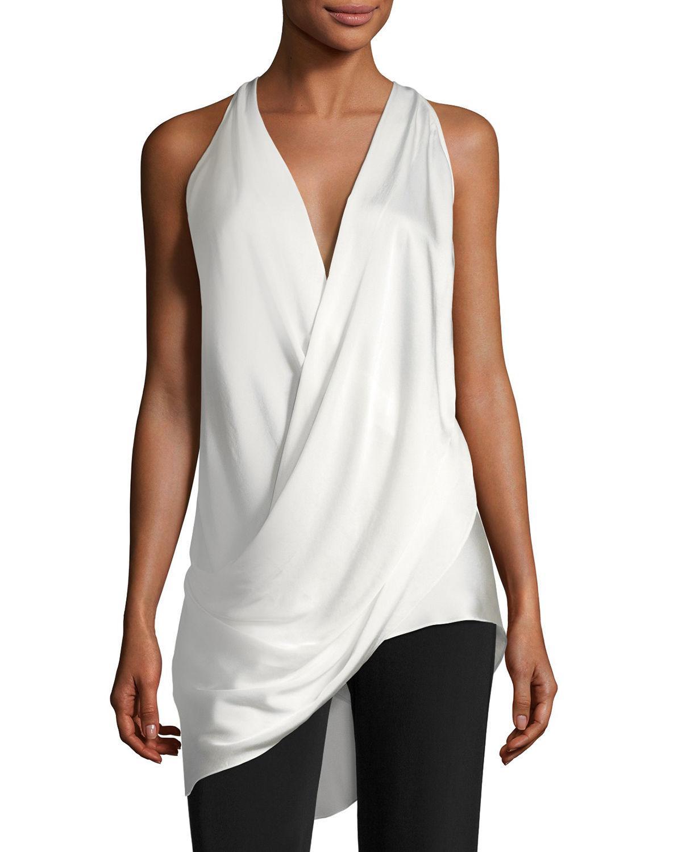 ff4220bd97762 Lyst - Urban Zen Draped Silk Halter Top in White