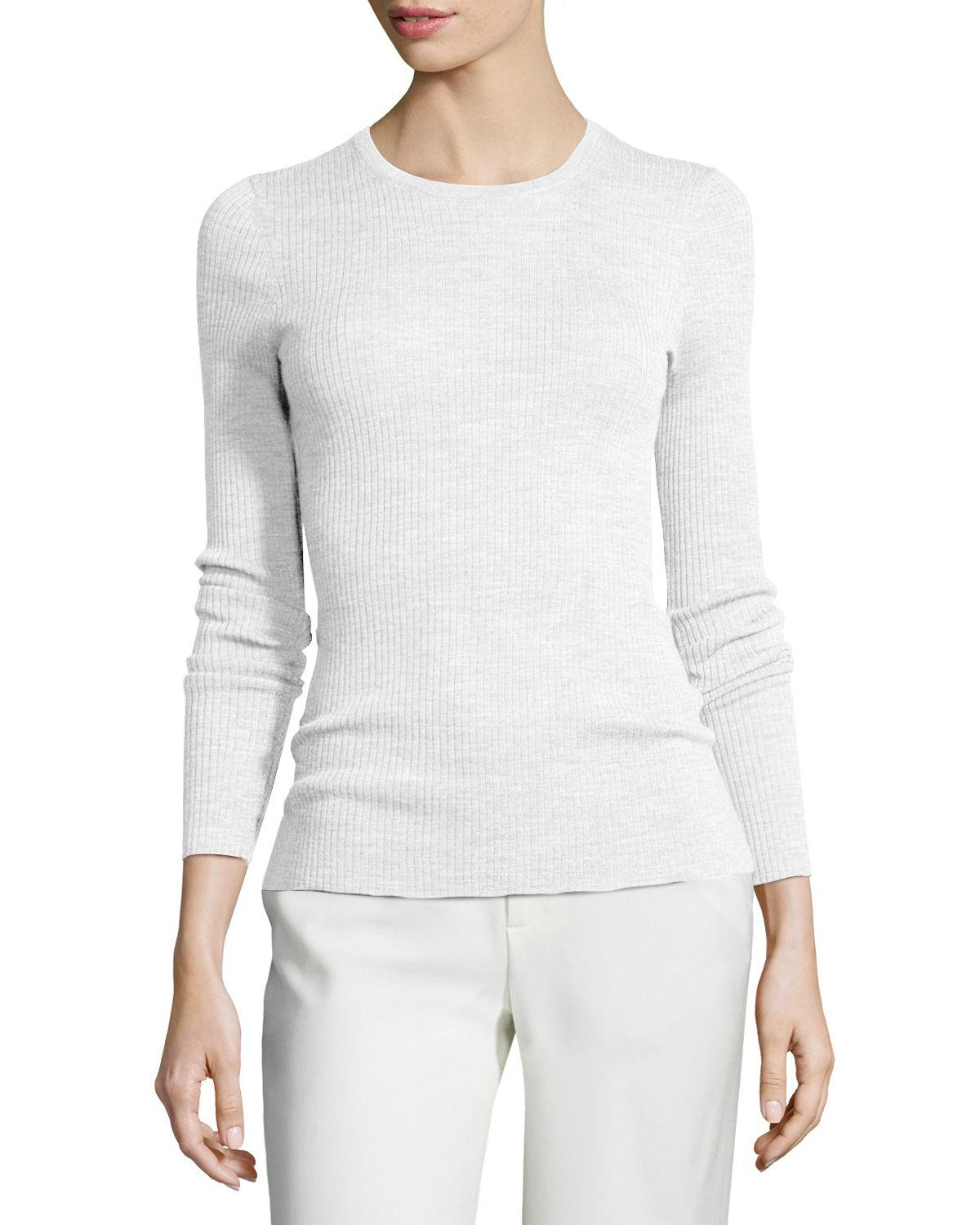 8cfe06a8d3 Theory Mirzi Refine Ribbed-knit Sweater in White - Lyst