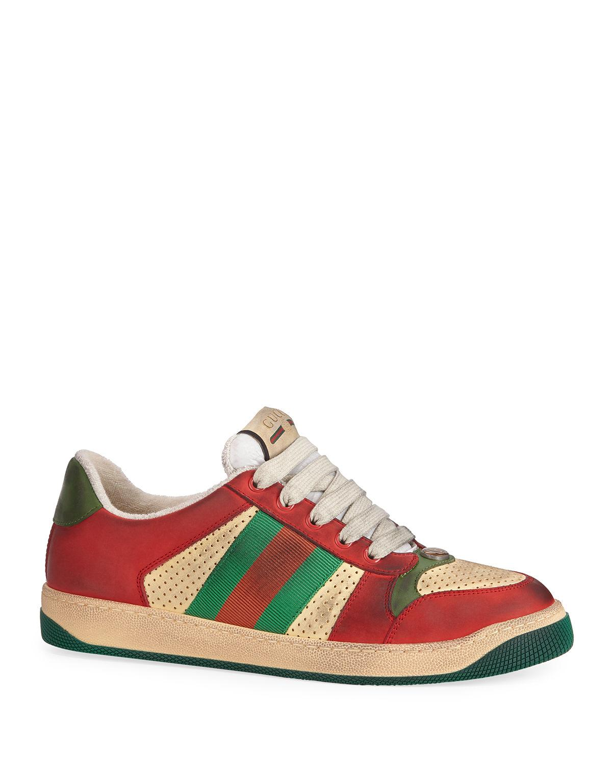 774c09261e3 Lyst - Gucci Men s Distressed Leather Sneakers in Red for Men