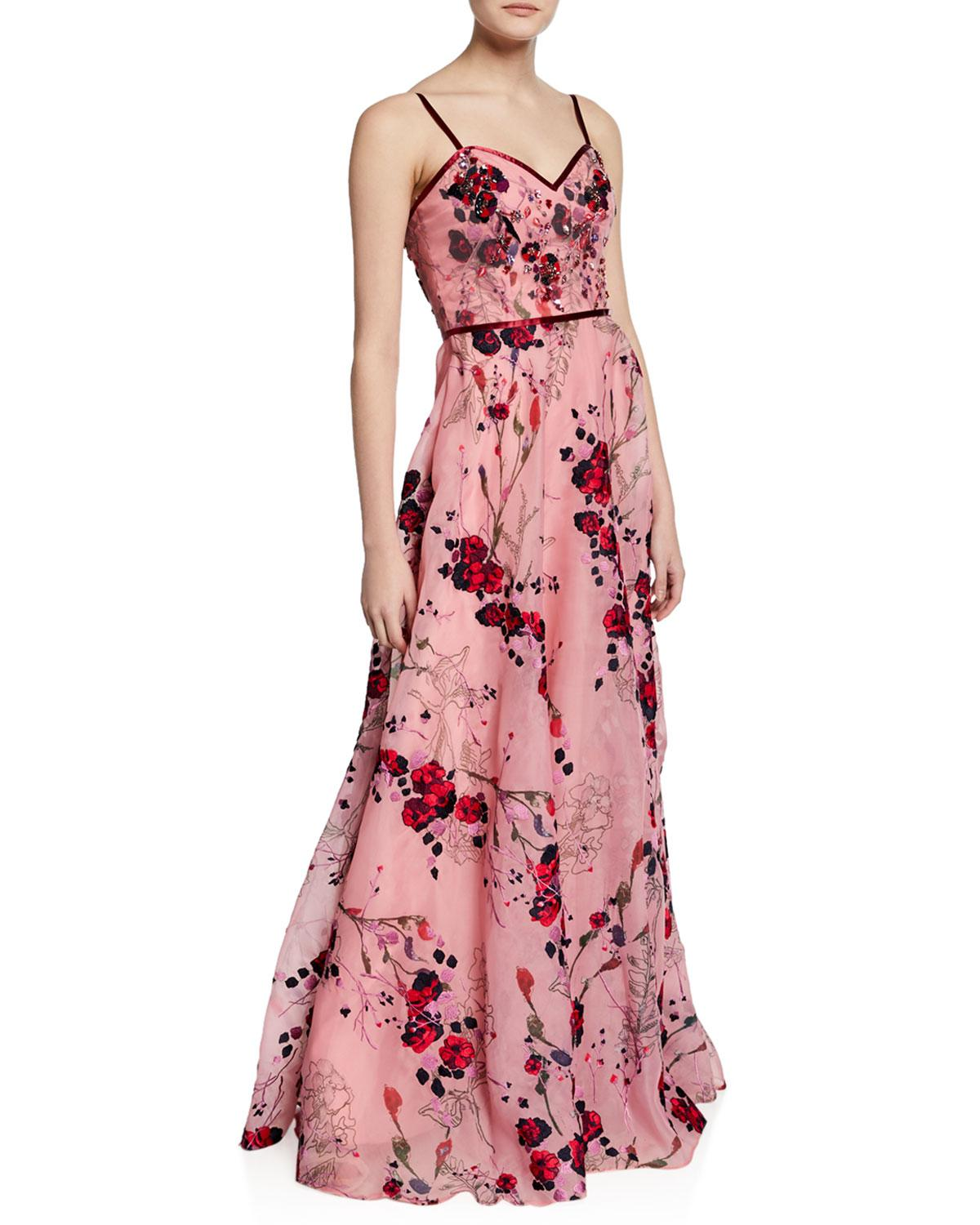 894315cafee Marchesa notte. Women's Pink Printed Floral-embroidered Sleeveless Organza  Gown ...