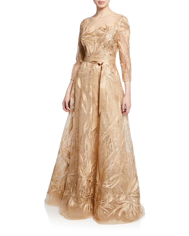 b1784d661eeb Teri Jon. Women s Metallic Embroidered Lace   Sequin 3 4-sleeve Illusion  Gown