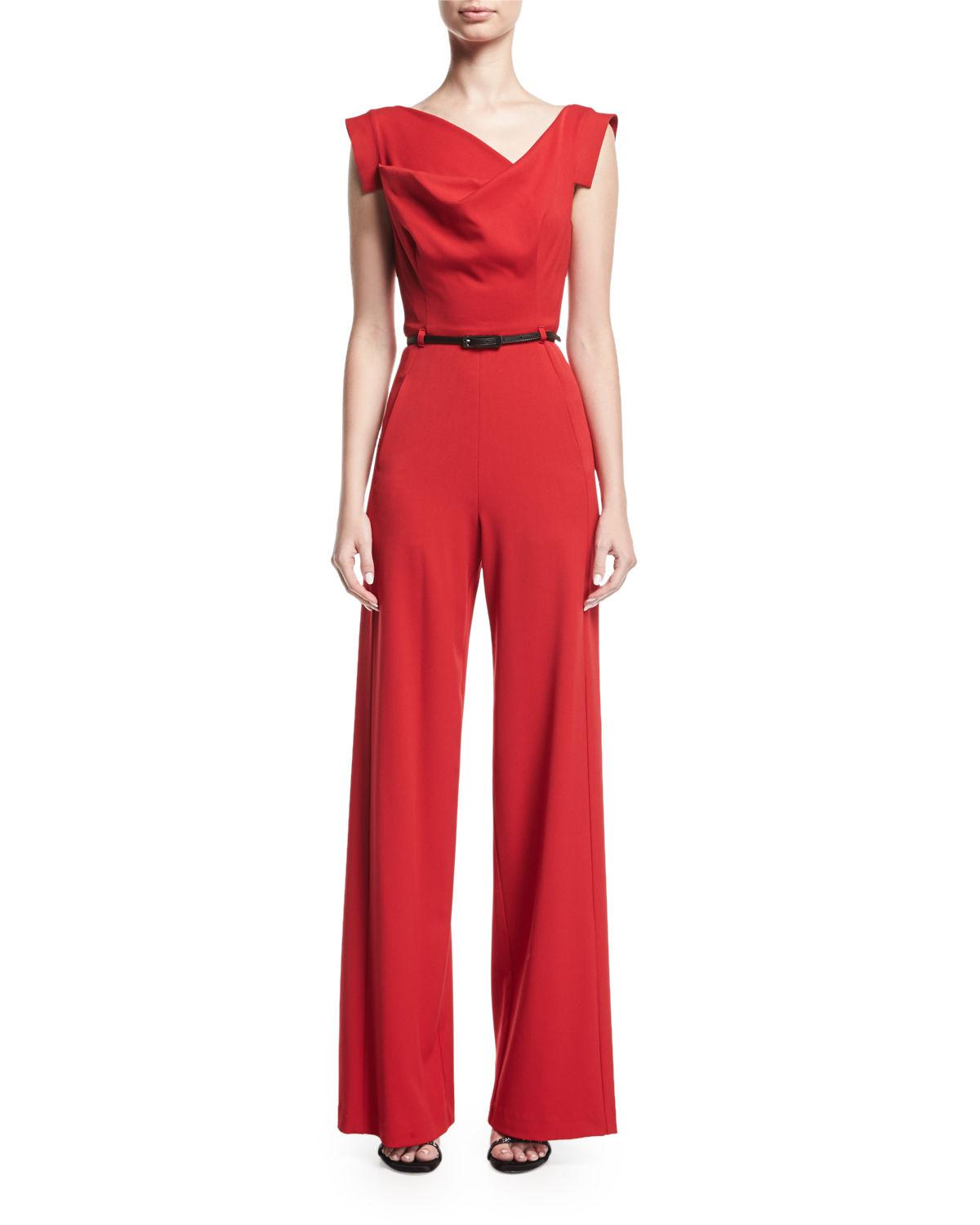 f1e9dc0a Black Halo Jackie Cap-sleeve Belted Wide-leg Jumpsuit in Red - Lyst