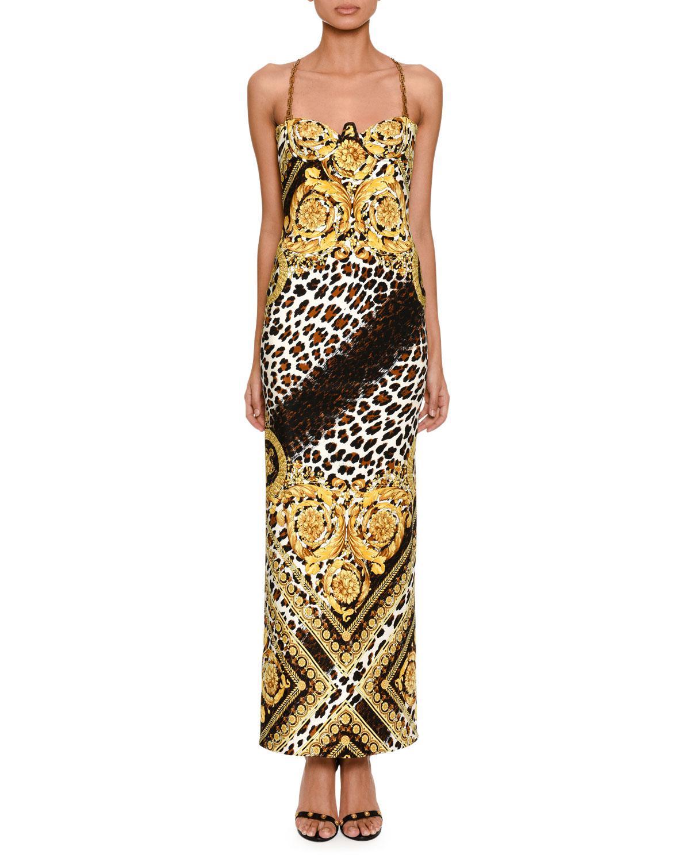 e7574491c6 Versace. Women s Metallic Sleeveless Baroque Leopard-print Column Evening  Gown With Chain Straps