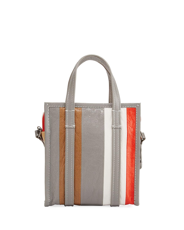 65d83691f83 Balenciaga Bazar Extra Small Striped Leather Shopper Tote Bag - Lyst