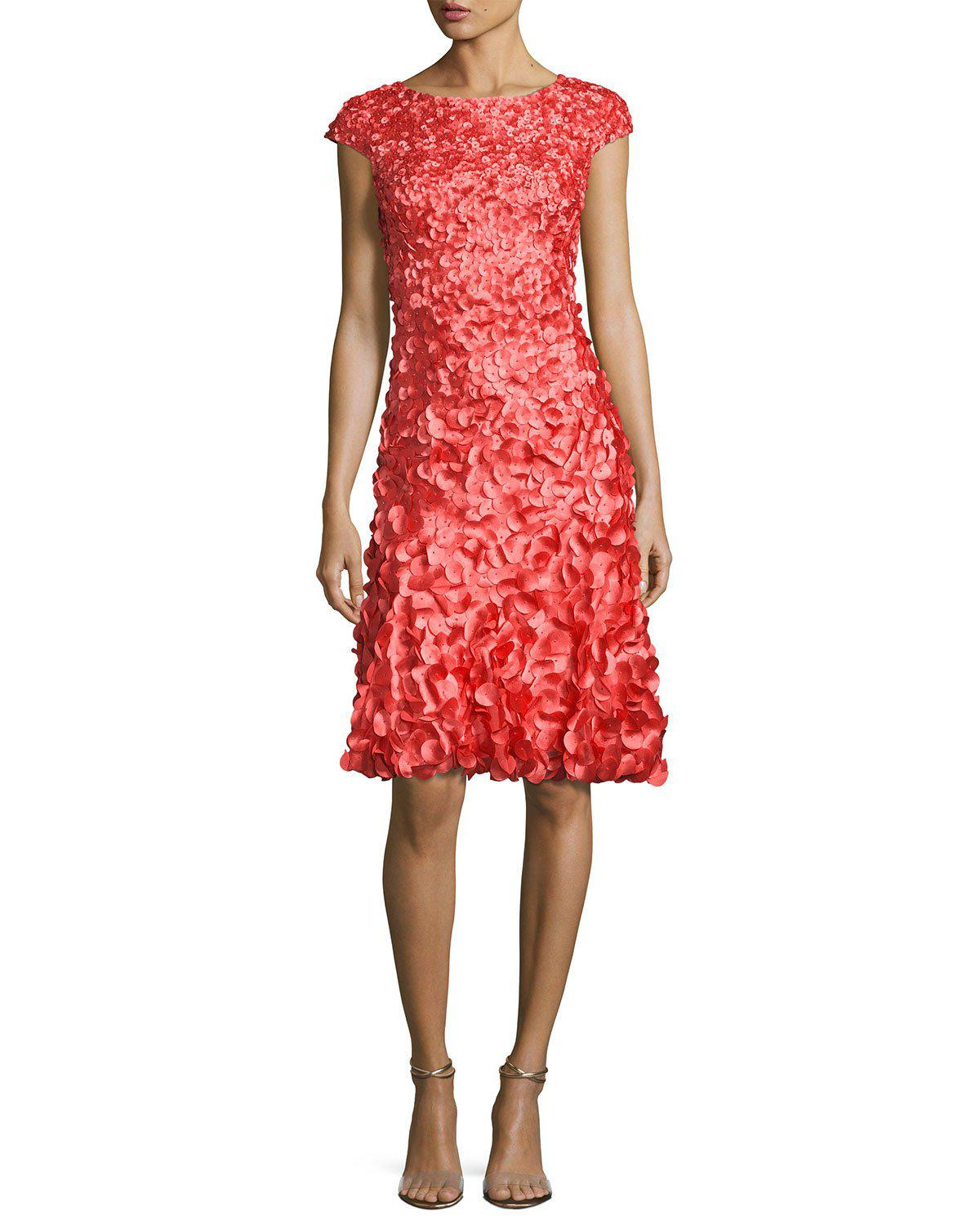 1355fe9ed6b Lyst - THEIA Cap-sleeve 3d Petal Cocktail Dress in Red