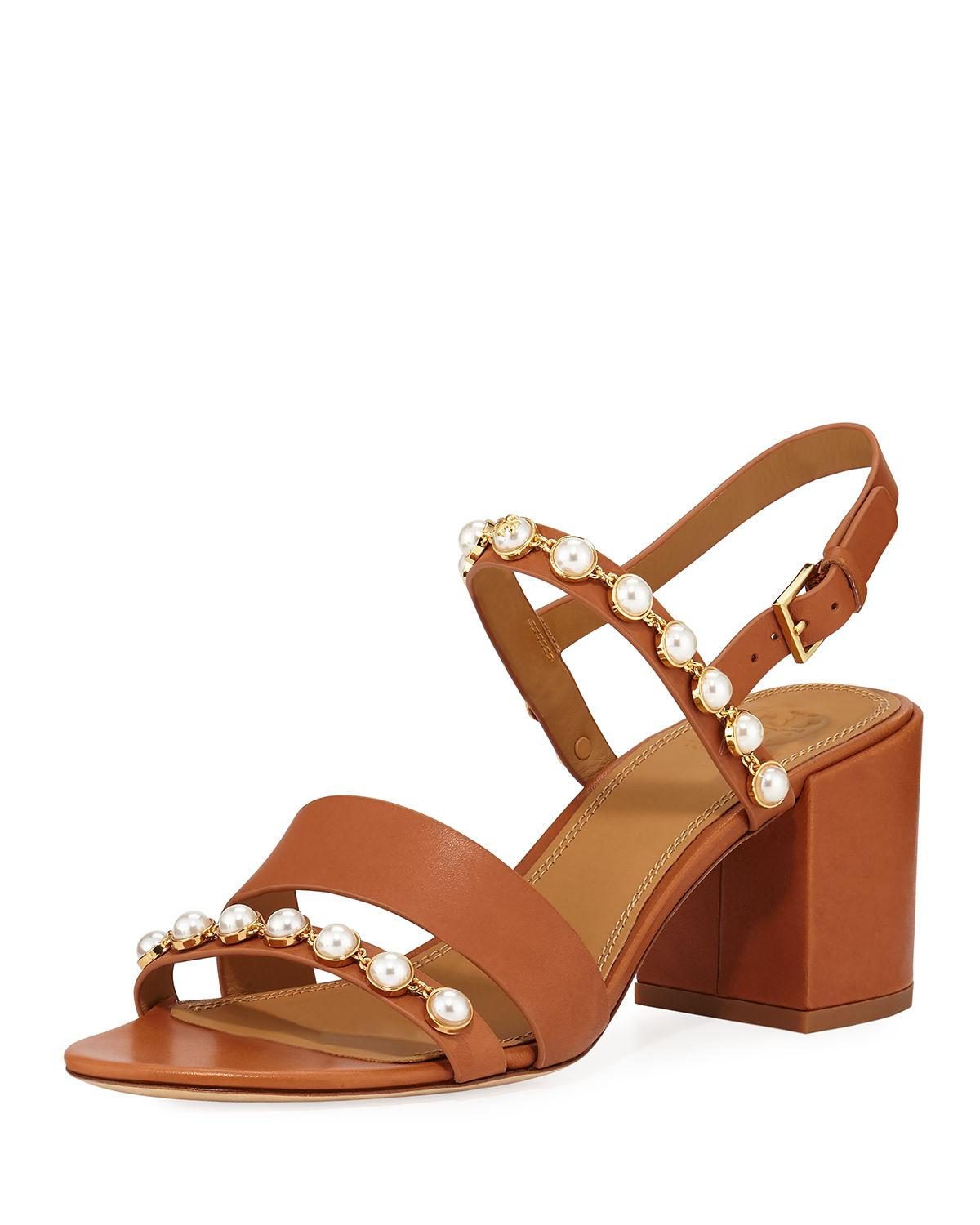 687feef2098f Lyst - Tory Burch Emmy Pearly Studded Block-heel Sandals in Brown