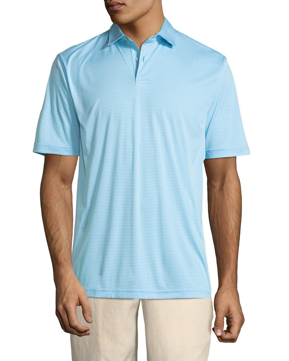 78b392e9 Lyst - Peter Millar Featherweight Melange-stripe Polo Shirt in Blue ...