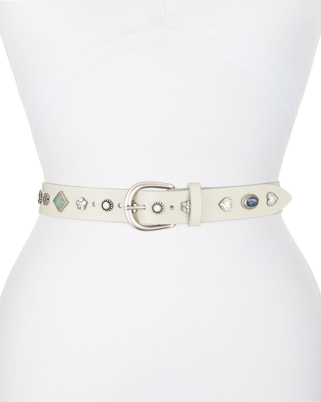 da7b31cca Lyst - Étoile Isabel Marant Luke Studded Leather Belt in White