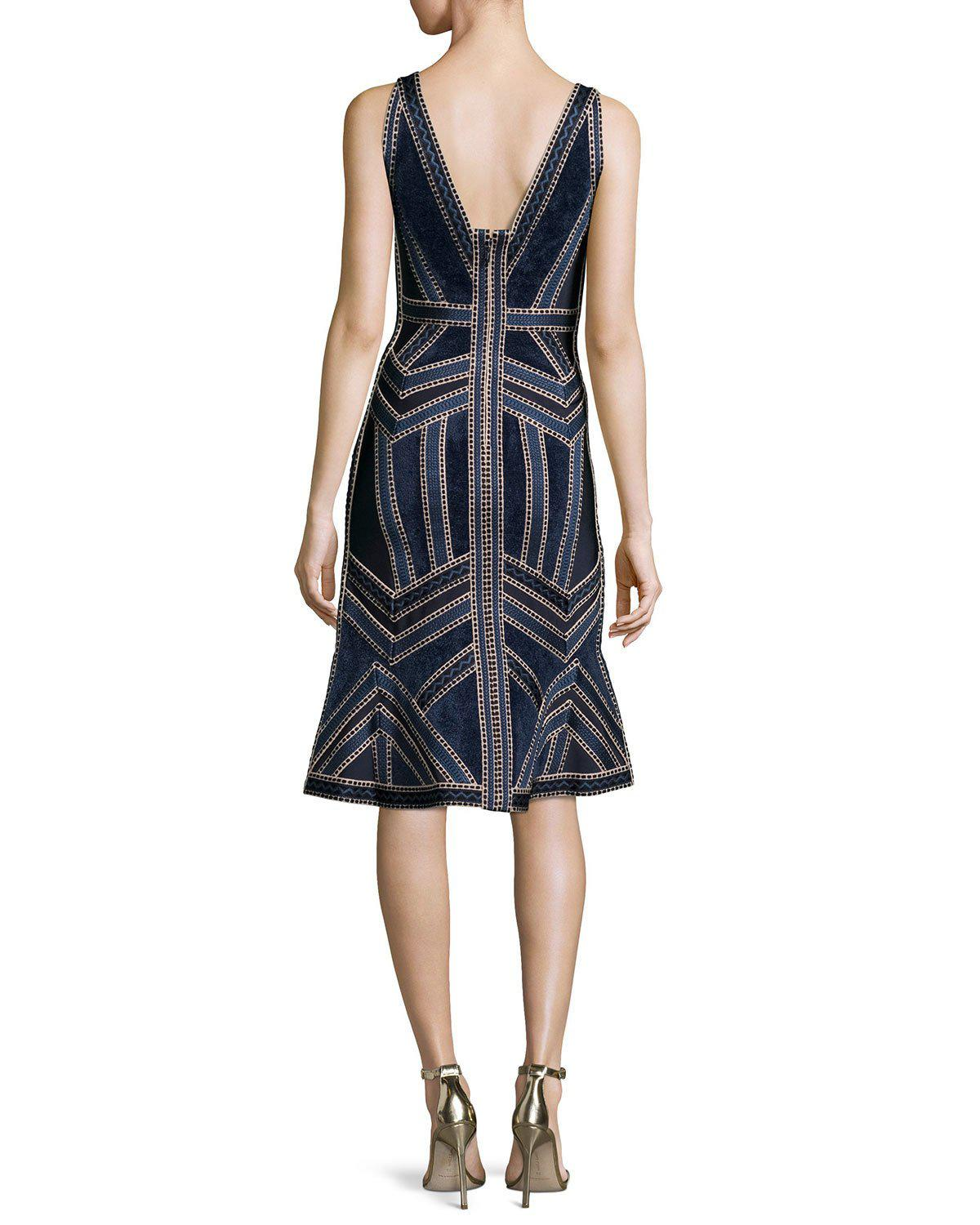 d1c47fce3268 Lyst - Hervé Léger Sleeveless Deep-v Jacquard Flounce Dress in Blue