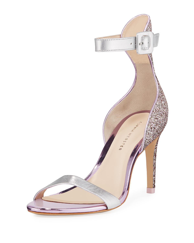 9ca5efba82a Sophia Webster. Women s Pink Nicole Naked Mid-heel Glitter Ankle-wrap  Sandals