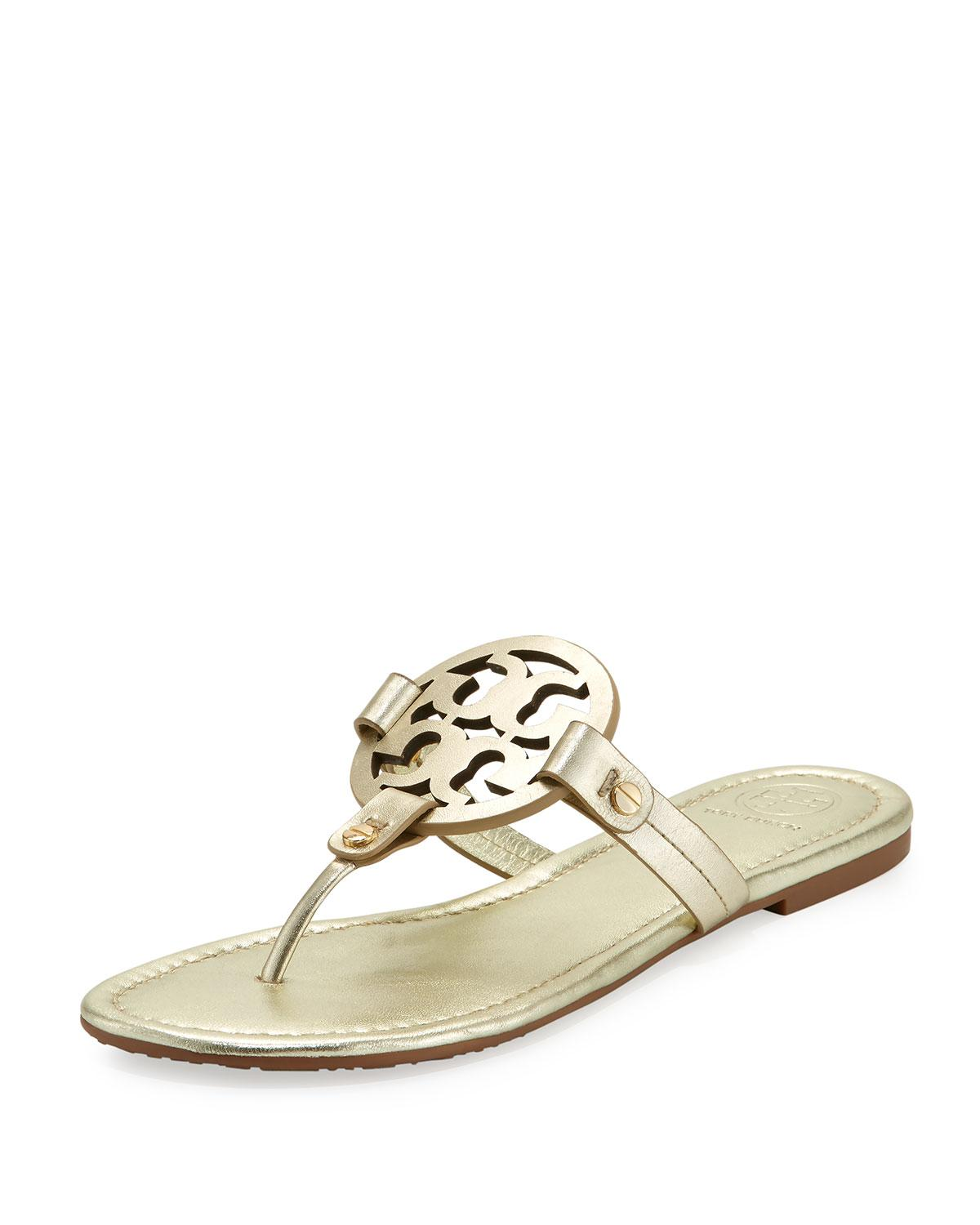 9f3df2d868a7ae Lyst - Tory Burch Miller Leather Logo Sandal in Metallic - Save 15%