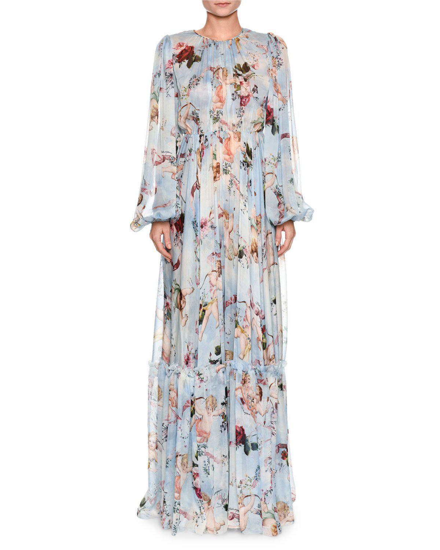 ebf81b9c Dolce & Gabbana Long-sleeve Cherub-print Chiffon Jumpsuit in Blue - Lyst