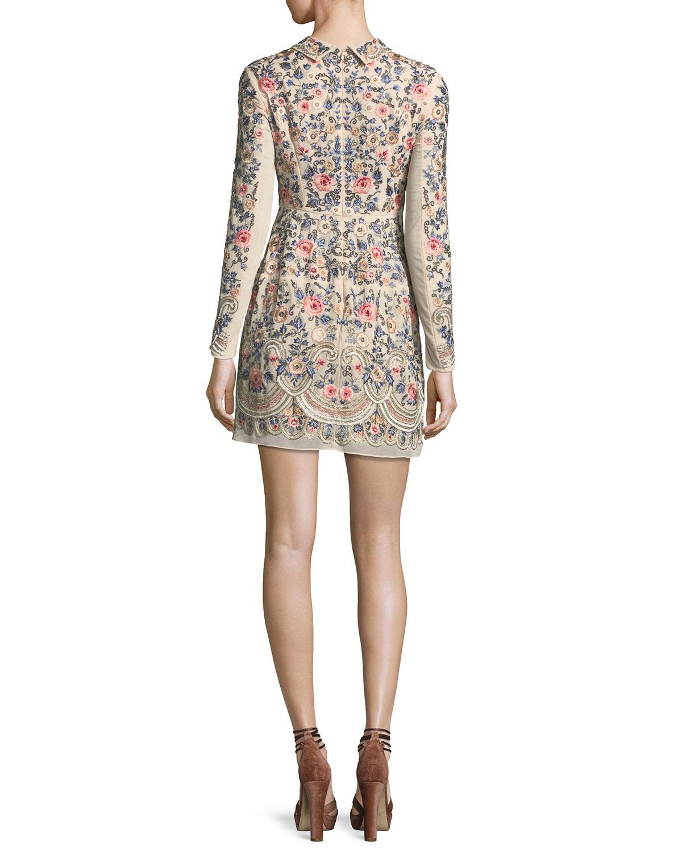 Lyst - Needle & Thread Whisper Prom Long-sleeve Mini Dress in Pink