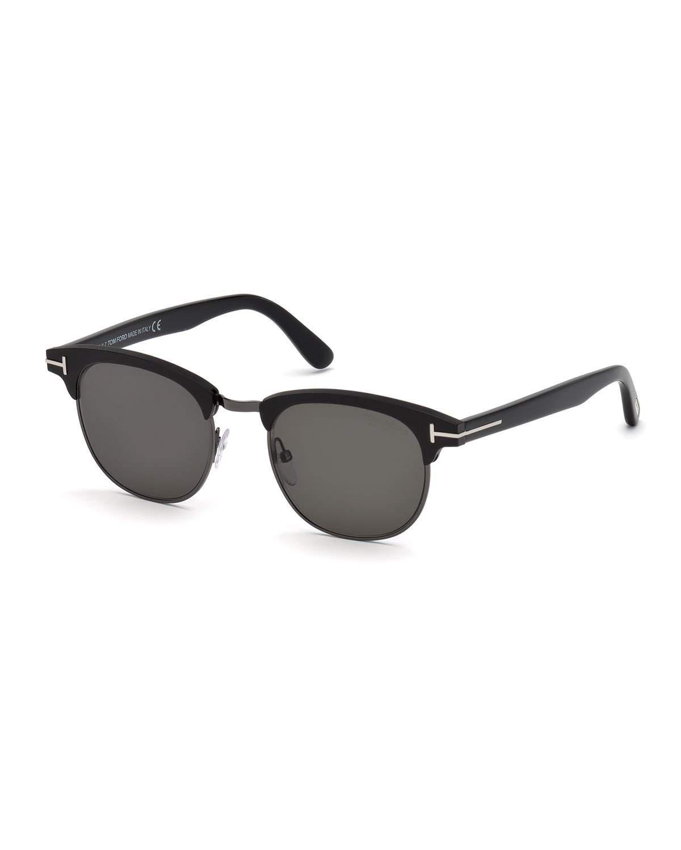 be9cf7aa128 Lyst - Tom Ford Men s Half-rim Metal acetate Sunglasses - Silvertone ...