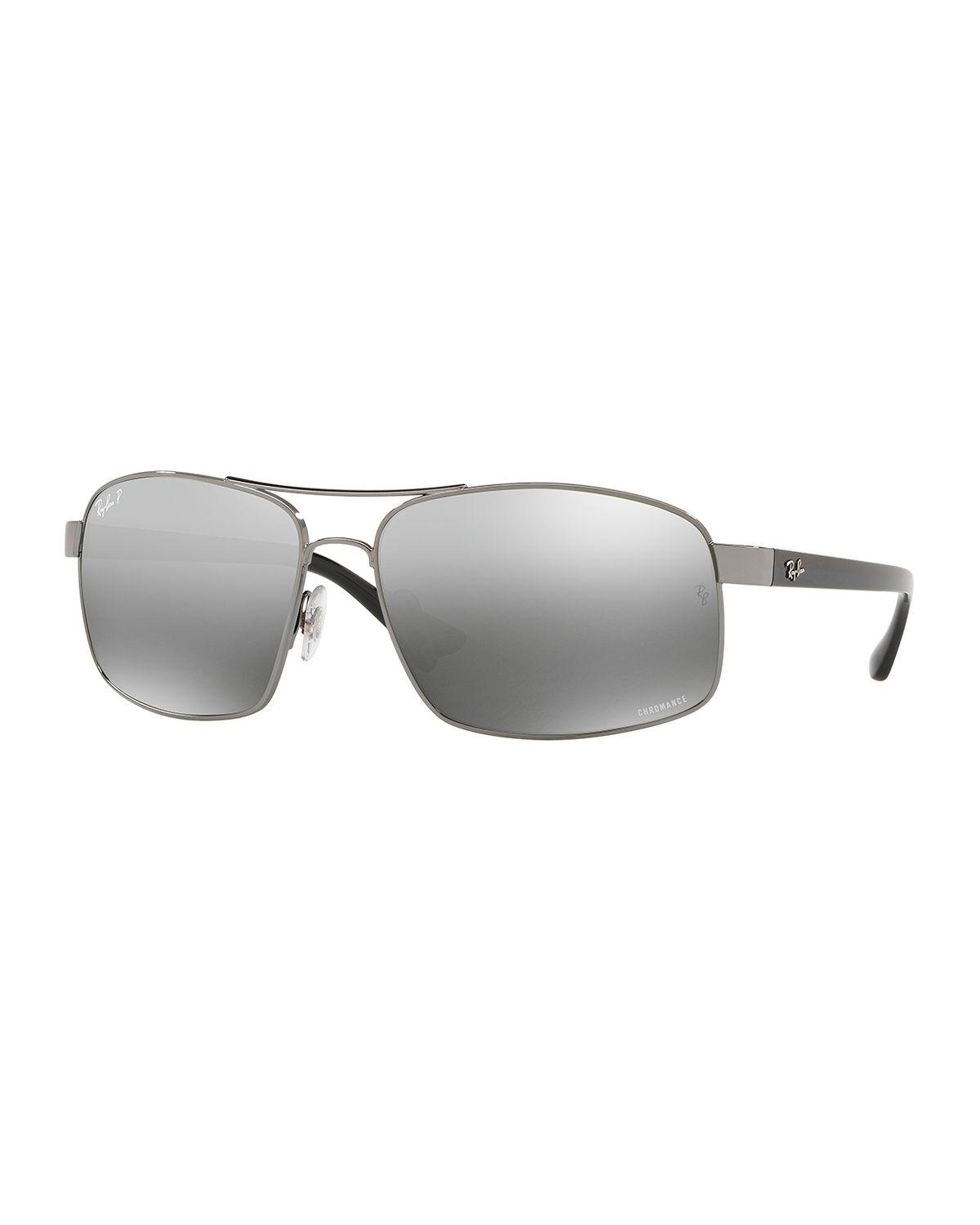 3e57c2fb5d Lyst - Ray-Ban Men s Square Chromance Metal Sunglasses in Gray for Men