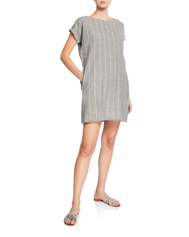 fc64e49af6 Lyst - Eileen Fisher Plus Size Striped Hemp Mini Sheath Dress in ...