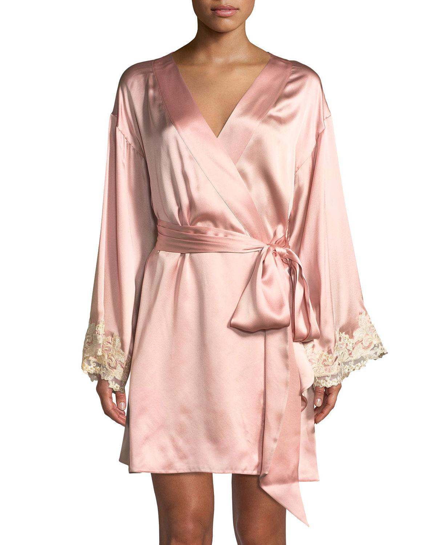 Lyst - La Perla Maison Lace-trim Short Robe in Pink 34b76a6b7