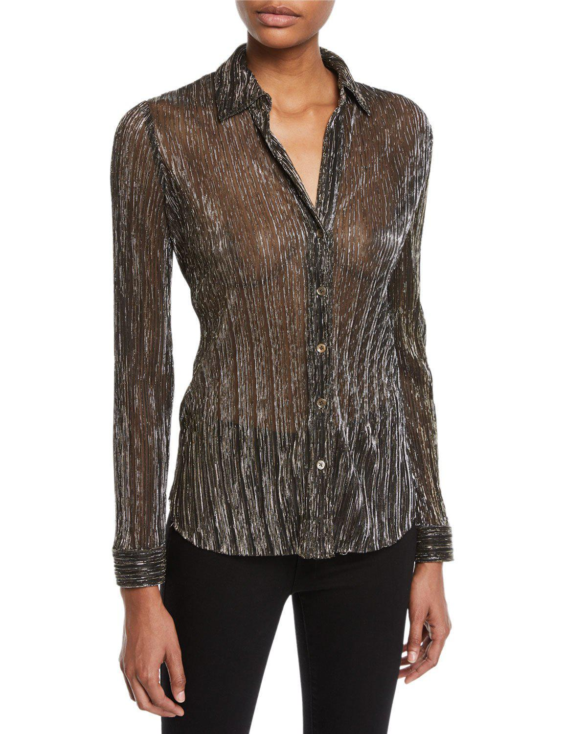 0ec20a1d04deb5 Lyst - L Agence Nina Long-sleeve Metallic Button-front Blouse in ...
