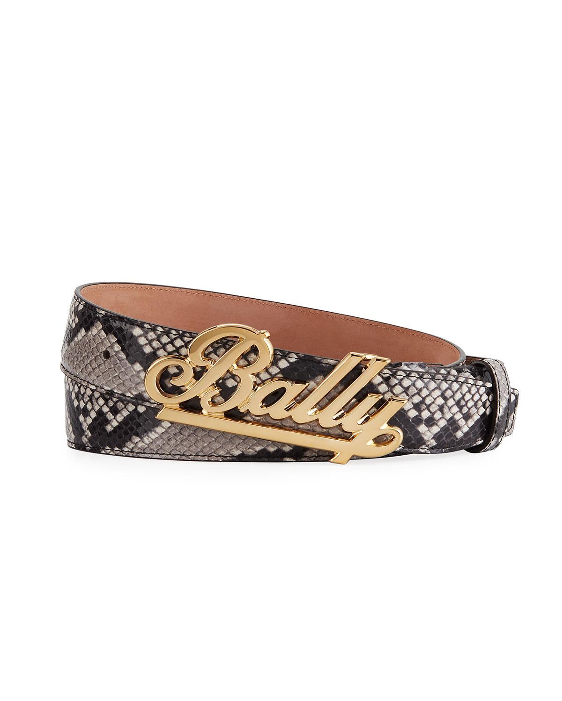 1dd386768f2 Lyst - Bally Men s Swoosh Snake-print Leather Belt for Men