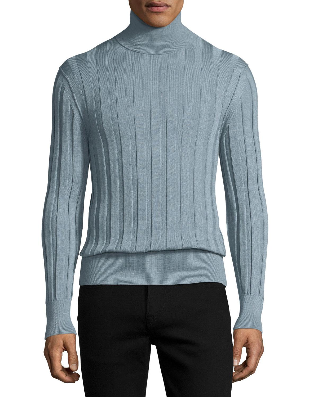 Tom ford Cashmere-silk Ribbed Turtleneck in Blue for Men | Lyst