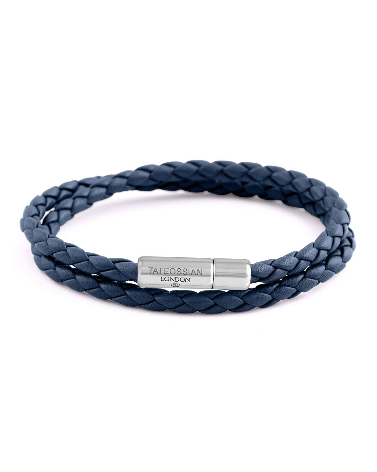 Tateossian Mens Multi-Strand Leather Cobra Bracelet, Navy