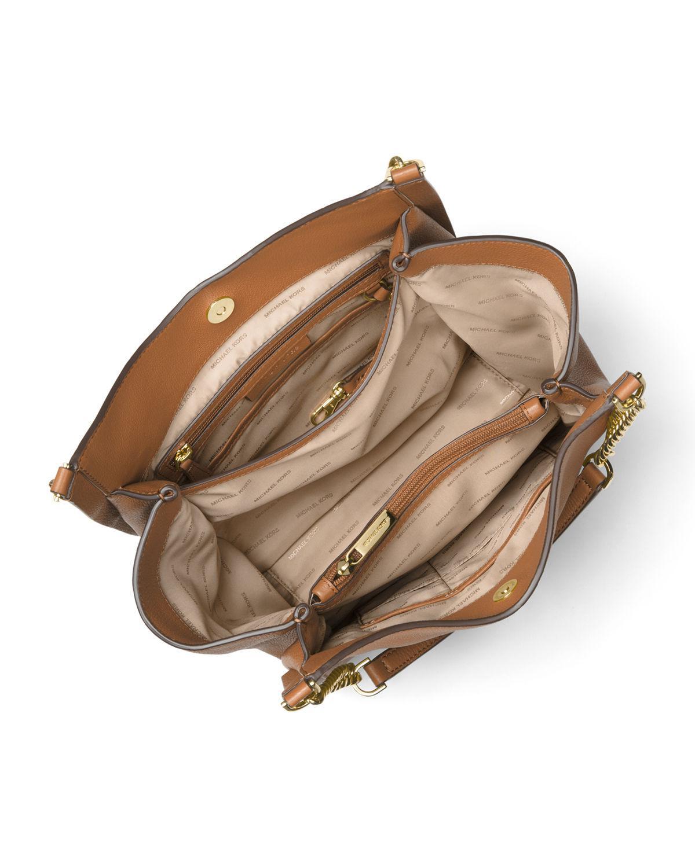 05d6d9f38bd7 Lyst - MICHAEL Michael Kors Newbury Medium Leather Chain Shoulder ...