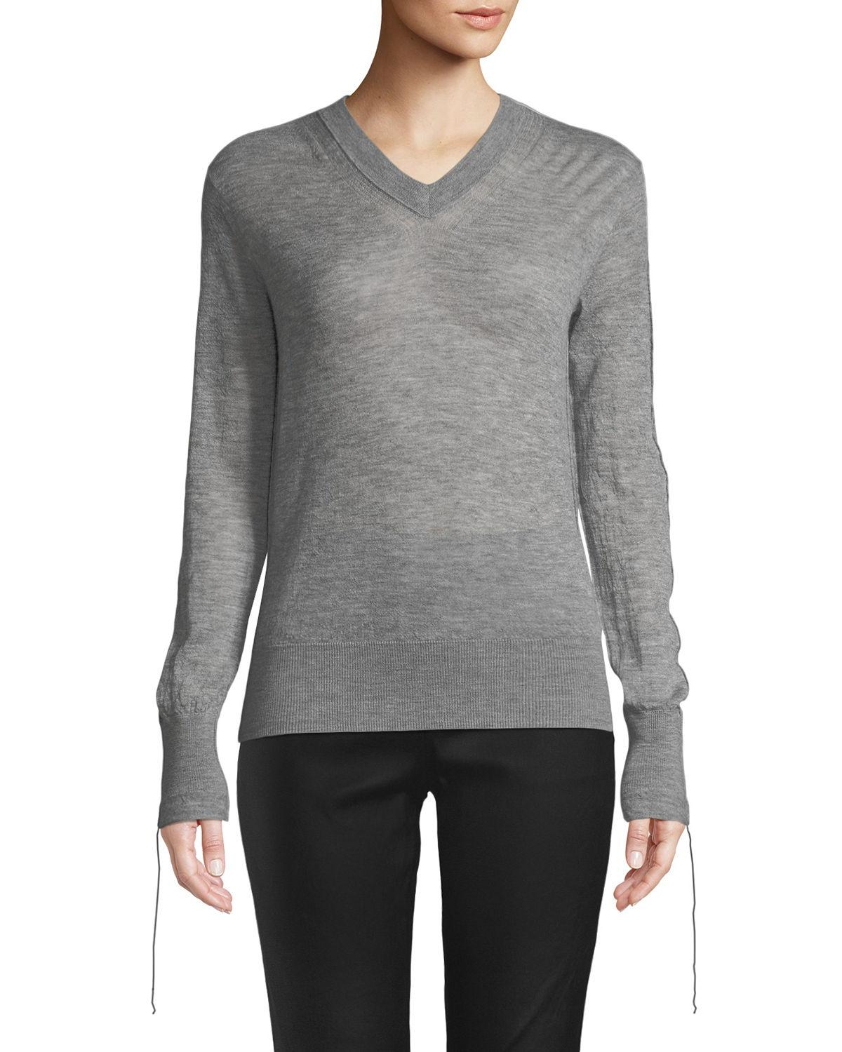 1334e52ec90 Lyst - Helmut Lang Tie-cuff Sheer Cashmere V-neck Sweater in Black ...