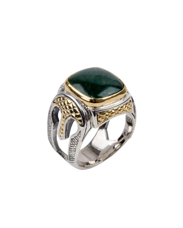 Konstantino Mens Sterling Silver & 18K Gold Cross Signet Ring a2x5N8jLj
