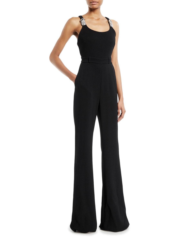 4d26bd52d845 Brandon Maxwell. Women s Black Scoop-neck Thin-strap Flared-leg Jumpsuit W   Pineapple Crystal-embellished