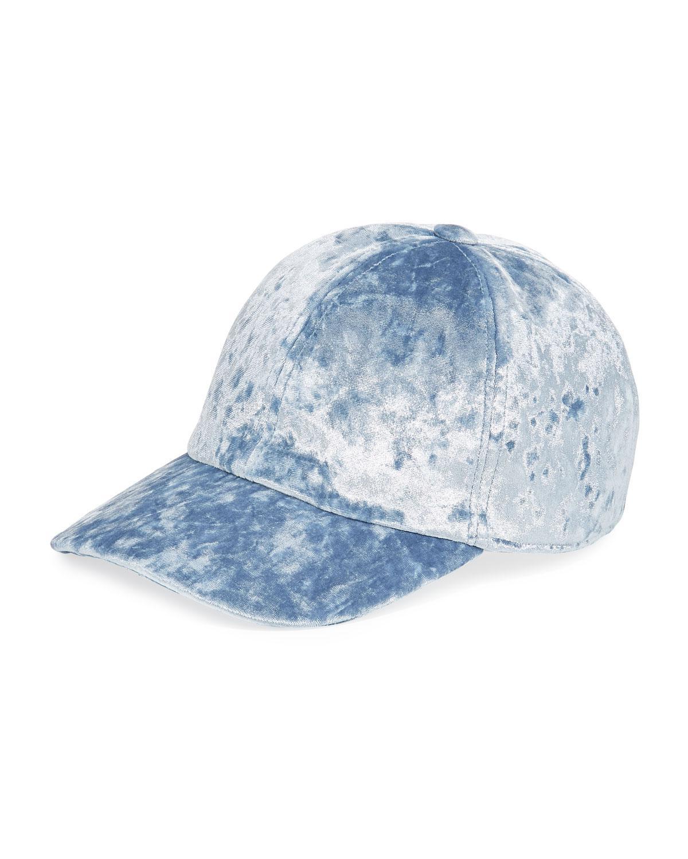 Lyst - Federica Moretti Velvet Baseball Cap in Blue 6354585c5c77