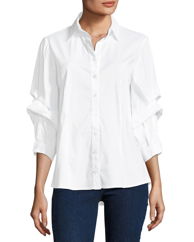 8eca2fbab8d07f Lyst - Finley Tess Holiday Dramatic-sleeve Silky Poplin Shirt in White