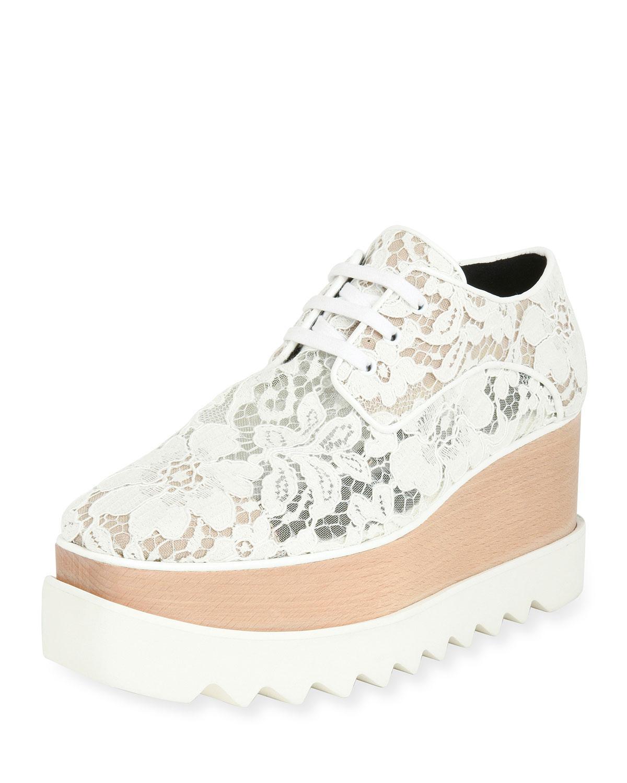 9c2558d9c860 Lyst - Stella McCartney Elysse Lace Platform Wedge Sneaker in White ...