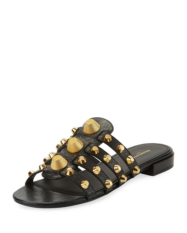 0a252426895c Lyst - Balenciaga Mixed-stud Leather Slide Flat Sandal in Black