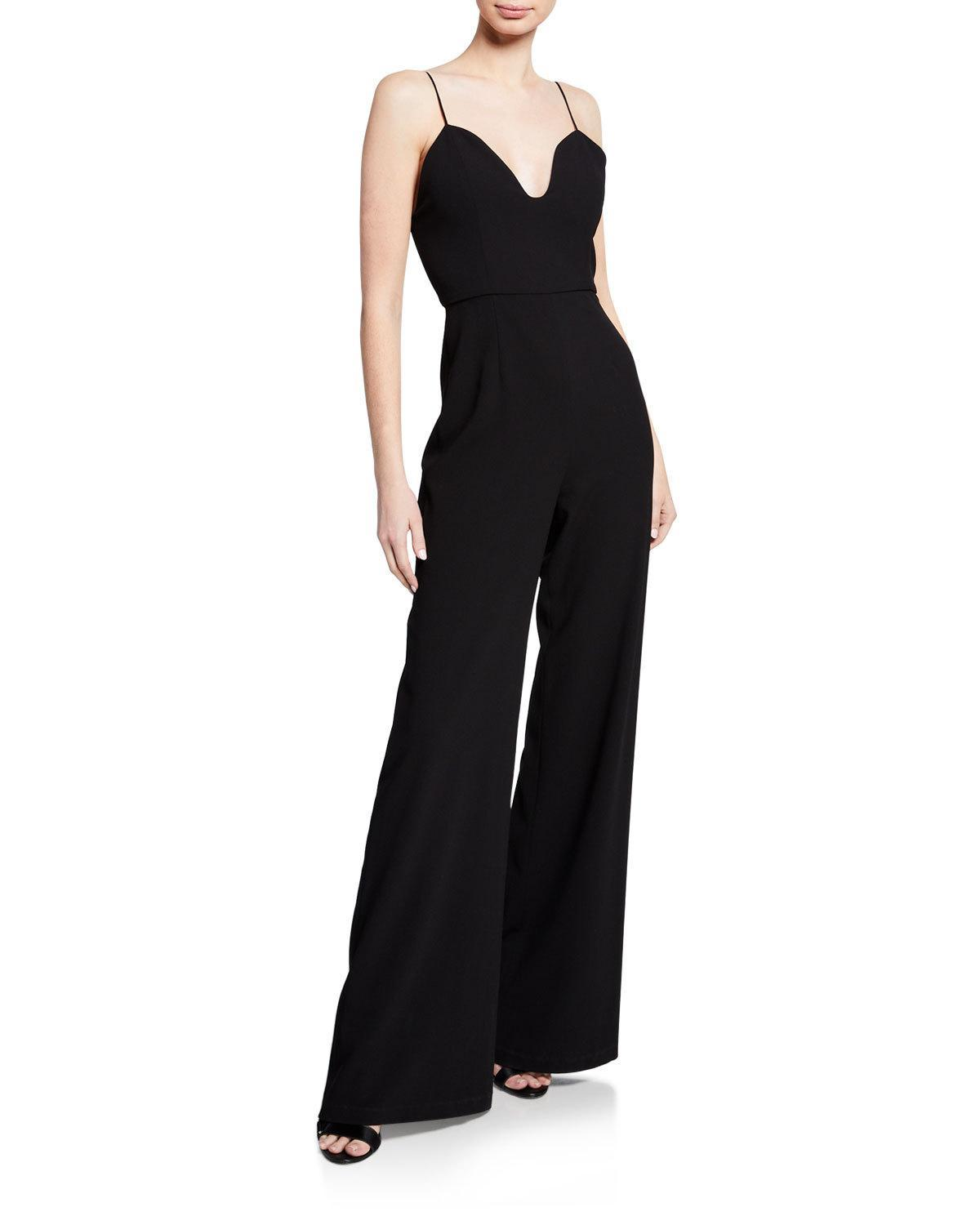 a6f93d98824b Lyst - Alice + Olivia Lina Deep Sweetheart Jumpsuit in Black