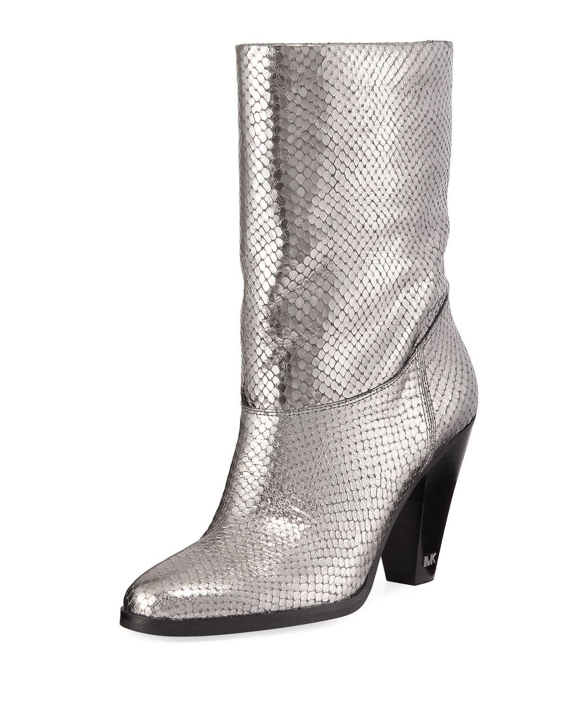 e99b1d5d7 MICHAEL Michael Kors Divia Diamond Metallic Leather Mid-calf Boots ...